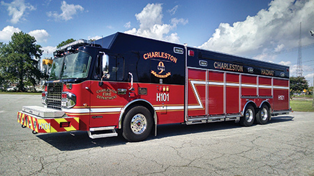 The Charleston (SC) Fire Department chose Spartan ER to build this dual-rear-axle hazmat truck with a command area in the front and walk-around hazmat storage in the body. (Photo courtesy of Spartan ER.)