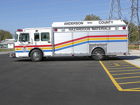 Summit Fire Apparatus built this single-rear-axle hazmat rig for the Anderson County (SC) Fire Department. (Photo courtesy of Summit Fire Apparatus.)