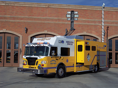The Glendale (AZ) Fire Department had SVI Trucks build its hazmat truck on a single rear axle with a command area and slide-out in the front and walk-around body for equipment storage at the back. Note the light tower and communications and camera mast on top of the rig. (Photo courtesy of SVI)