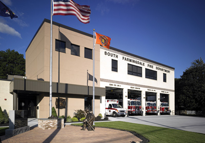 H2M Architects renovated this four-bay fire and EMS station for the South Farmingdale (NY) Fire Department. The station's original three bays were too small and antiquated, so they were demolished and replaced with four new apparatus bays, and the rest of the structure was rehabbed. (Photo courtesy of H2M Architects.)