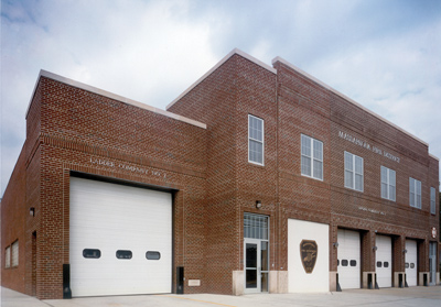 5 The Massapequa (NY) Fire District had H2M Architects put an addition onto its station, built in 1940, to accommodate a new aerial ladder truck that would not fit in the older apparatus bays. (Photo courtesy of H2M Architects.)