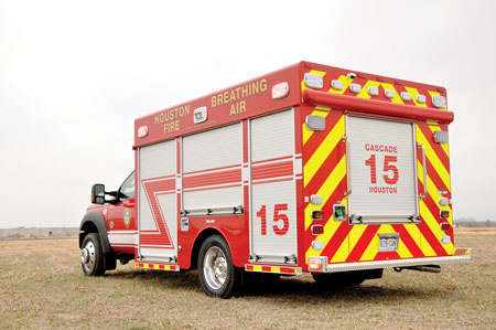 1 SVI Trucks built four air and light units for the Houston (TX) Fire Department on Ford F-550 chassis. Each unit has a 13-cfm air compressor and a small light tower. (Photo courtesy of SVI Trucks