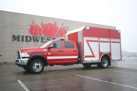 4 The Valley Springs (SD) Volunteer Fire Department had Midwest Fire build this specialty vehicle as a first-response/rescue truck on a Dodge Ram 550 crew cab with a polypropylene body entered from the rear to allow firefighters to get victims out of the elements. (Photo courtesy of Midwest Fire