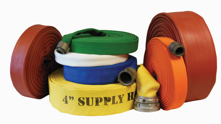 2 Various types of fire hose made by Superior Fire Hose include double-jacket polyester rubber-lined hose as well as synthetic nitrile rubber hose that is resistant to fuels, chemicals, oils, heat, cold, and environmental pollutants. (Photo courtesy of Superior Fire Hose