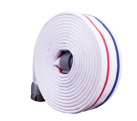 3 Key Fire Hose makes the Combat Ready hose for fire attack with a woven outer jacket of polyester yarns over an inner liner of extruded through-the-weave nitrile/PVC tube. (Photo courtesy of Key Fire Hose