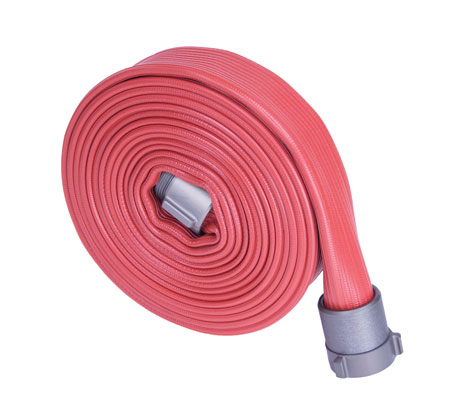4 The Dura-Flow rubber-covered attack hose made by Key Fire Hose is a nitrile/PVC through-the-weave rubber-covered construction. After cleaning and drying, it is recommended to store it in a coil. (Photo courtesy of Key Fire Hose