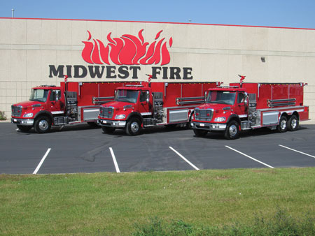 1 Most of the fire apparatus Midwest Fire Equiment & Repair Company builds are tanker-pumpers with All-Poly® tanks and bodies that have lifetime warranties and almost any type of Darley, Hale, or Waterous pump. (Photos courtesy of Midwest Fire Equipment & Repair Company