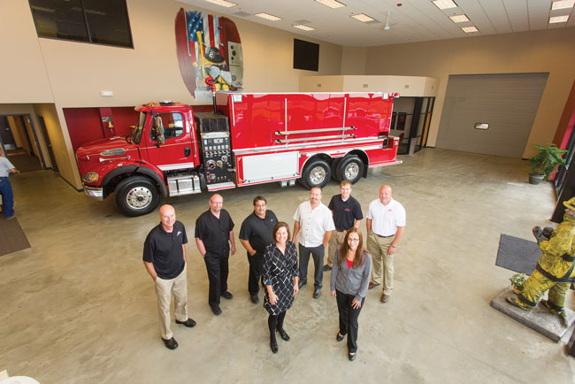 3 The Midwest Fire Equipment & Repair Company leadership team: (top row) Jeff Bowen, Rick Peterson, Mark Perkins, Brett Jensen, Tyler LeBrun, and Kraig Scholten; (bottom row) Sarah Atchison and Darcie Johnson