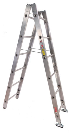 1 The model 35B is a traditional jackknife-style combination ladder made by Duo-Safety Ladder that can be converted from a straight ladder to an A-frame. (Photo courtesy of Duo-Safety Ladder