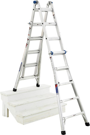 3 This MT-22 model ladder, made by Werner Company, can function as a straight ladder or as an adjustable A-frame stairway ladder as shown. (Photo courtesy of Werner Company