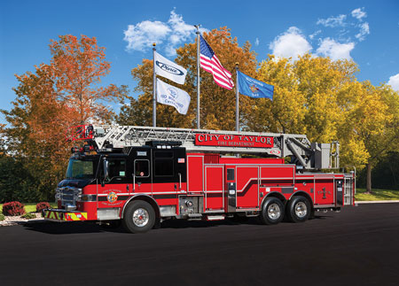 4 Pierce Manufacturing Inc. built this PUC 105-foot rear-mount ladder for the Taylor (TX) Fire Department. (Photo courtesy of Pierce Manufacturing Inc