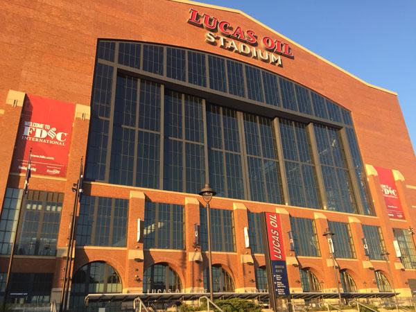 The exterior of Lucas Oil Stadium in Indianapolis during FDIC week.
