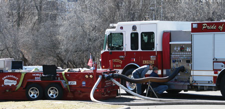 2 The Plymounth (MN) Fire Department uses Emergency Apparatus Maintenance to pump test all of its pumps. (Photo courtesy of Emergency Apparatus Maintenance.)