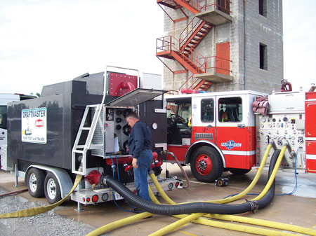 6 The Lincoln (NE) Fire Department had Danko Emergency Equipment Co. test the pump on this paramedic engine built on a custom chassis. (Photo courtesy of Danko Emergency Equipment Co