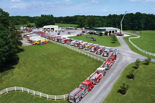 11 This aerial view shows some of the diverse vehicles Brindlee keeps in stock.