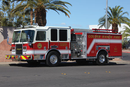 3 Firetrucks Unlimited sold this refurbished 2007 KME Predator pumper to the Golder Ranch (AZ) Fire District. The refurbishment included a new polypropylene water tank, repaint, and repair. (Photo courtesy of Firetrucks Unlimited.)