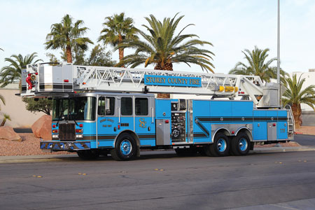 4 Another Firetrucks Unlimited sale was this refurbished 2011 Ferrara Platform Aerial to the Storey County (NV) Fire Protection District. Its refurbishment included a complete color change, LED lighting upgrade, pump and valve overhaul, body modifications, and electrical systems overhaul. (Photo courtesy of Firetrucks Unlimited.)