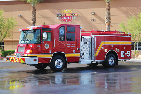 5 One of three identical refurbished 1999 Pierce Quantum pumpers Firetrucks Unlimited sold to the Pahrump (NV) Fire Department. The refurbishments included engine and pump overhauls, LED lighting upgrades, and repaint. (Photo courtesy of Firetrucks Unlimited