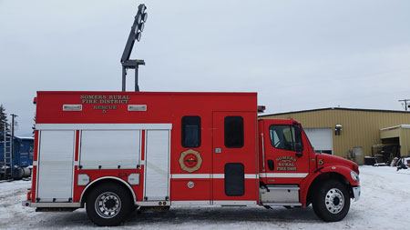 8 A 2006 rescue unit for the Somers (MT) Rural Fire District. The Somers Fire District had a need for a used engine, which it purchased through Firetec at the same time. The buyer of this 2006 rescue, Garrettson, South Dakota, was replacing a 1992 rescue. Interestingly, Garrettson had purchased the 1992 through Firetec in 2003; it was originally out of Swedesboro, New Jersey. (Photo courtesy of Firetec.)