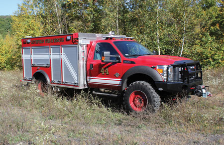 1 KME built this Type 6 wildland mini pumper for Litchfield Township (OH) Fire & Rescue on a Ford F-550 crew cab chassis with a super singles conversion carrying a Hale MG 1,000-gpm pump, a CET gasoline-driven auxiliary pump, and a 200-gallon water tank. (Photo courtesy of KME.)