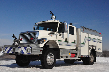 4 This Timberwolf wildland pumper built by Rosenbauer, with two remote control monitors, went to Cliffs Natural Resources in Fermont, Quebec, Canada. (Photo courtesy of Rosenbauer.)