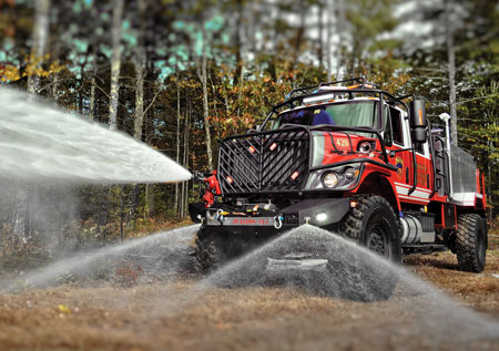 5 Howe and Howe Technologies Inc. builds the Bulldog on an International 4x4 chassis with 54-inch Hemet tires. The Bulldog is capable of carrying up to 2,000 gallons of water. <em>(Photo by Howe and Howe Technologies Inc.)</em>