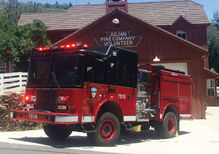 6 The Julian Cuyamaca (CA) Fire Protection District had HME Inc. build this HME rapid attack truck (RAT) with a 1,500-gpm pump, a 500-gallon water tank, and a 30-gallon foam cell. (Photo courtesy of HME Inc.)