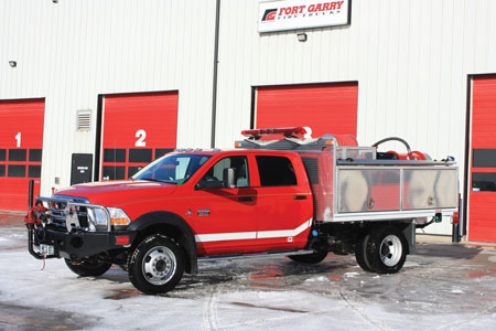 7 Fort Garry Fire Trucks built this Type 6 flat deck wildland truck for the Cypress Hills Fire Base of Saskatchewan (CAN) Fire Management and Forest Protection Branch. (Photo courtesy of Fort Garry Fire Trucks)