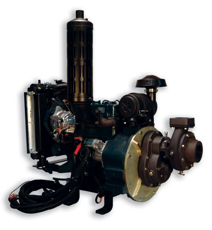 1 W.S. Darley & Company's most popular wildland pump is the 1-1/2AGE 24K, a high-pressure, low-volume, engine-mounted pump powered by a 24-hp D902 diesel engine. (Photo courtesy of W.S. Darley & Co