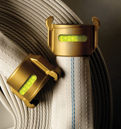 14 Firebreak II is a self-protecting hose made by Mercedes Textiles that wicks tiny amounts of water to the hose's surface to keep it damp. (Photo courtesy of Mercedes Textiles.)
