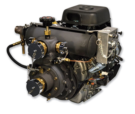 2 W.S. Darley & Company recently introduced the 2-1/2AGE 37V EFI for use on wildland vehicles. The pump is powered by a Vanguard electronically fuel-injected gasoline engine that doesn't lose power at higher altitudes. (Photo courtesy of W.S. Darley & Company.)