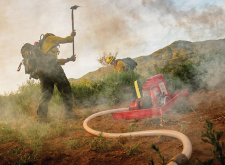 8 WATERAX makes the Mark-3 wildland pump that uses a two-stroke engine with a four-stage centrifugal pump to produce high pressure. (Photo courtesy of WATERAX.)