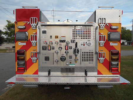 3 Green Township's brush truck has a pump panel at the rear of the truck that is semi-enclosed in what KME calls a municipal-style pump panel