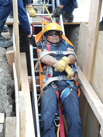 7 CMC Rescue and Skedco partnered to produce the Drag-On Lift Harness, a Half-Sked and harness combination designed to extricate victims from tight spaces and also where spinal immobilization is not necessary. (Photo courtesy of CMC Rescue.)