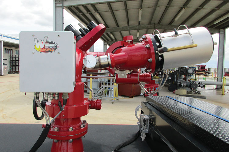 11 The Ambassador monitor and nozzle made by Tyco's Williams Fire and Hazard Control is capable of water flows from 2,000 to 6,000 gpm and can also flow Hydro-Foam or Hydro-Chem for extinguishing liquids and gases under pressure. (Photo courtesy of Tyco Fire Protection Products