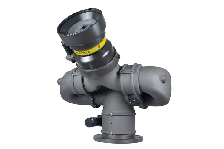 4 Elkhart Brass Company has introduced the high-capacity Magnum EXM, a six-inch-diameter monitor that will flow 5,000 gpm. (Photo courtesy of Elkhart Brass Company