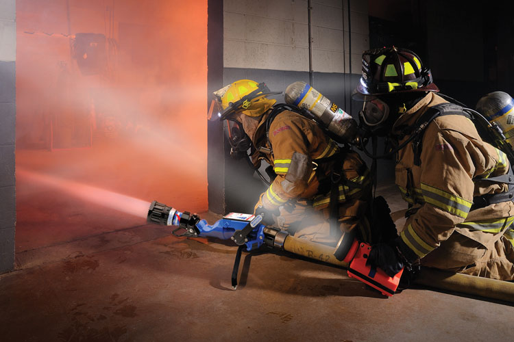 6 Task Force Tips makes the BlitzFire Portable monitor that is often preconnected on the back of an engine and used in place of a deck gun in fire attack situations.