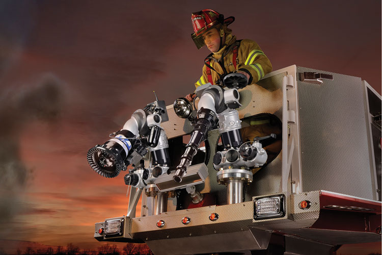 5 The Ram XD 500-gpm portable monitor was launched this year by Elkhart Brass Company, designed to be deployed down between 14 and 20 degrees for use on first-floor fires. (Photo courtesy of Elkhart Brass Company