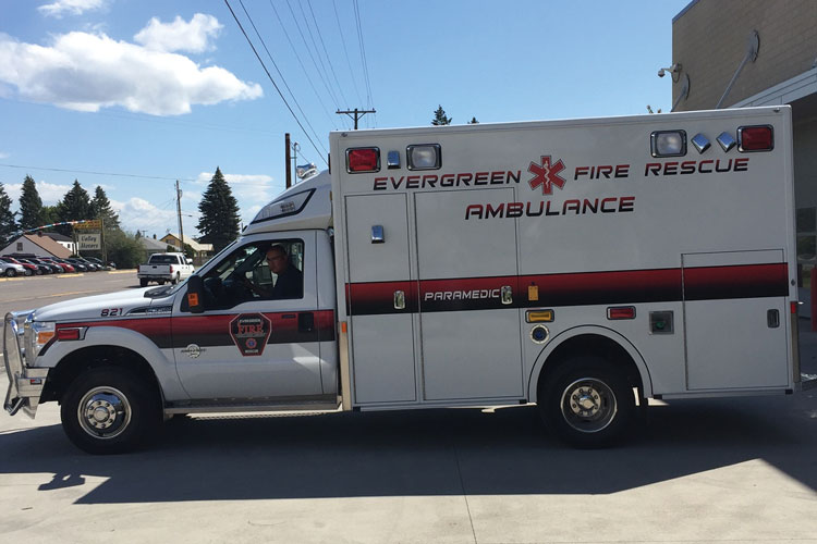 1 Evergreen (MT) Fire Rescue purchased its first new ambulance, a Demers Type 1, through Apgar Ambulance with the assistance of a Montana Department of Transportation grant. (Photo courtesy of Apgar Ambulance.)
