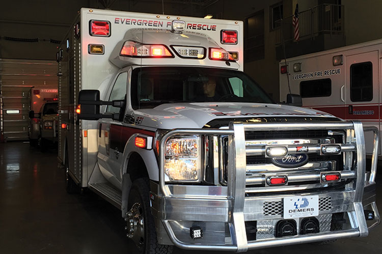 3 Evergreen Fire Rescue had Demers Ambulance add an Ali Arc full aluminum protective grille and bumper with Rigid LED driving lamps to the front of its new rig. (Photo courtesy of Apgar Ambulance