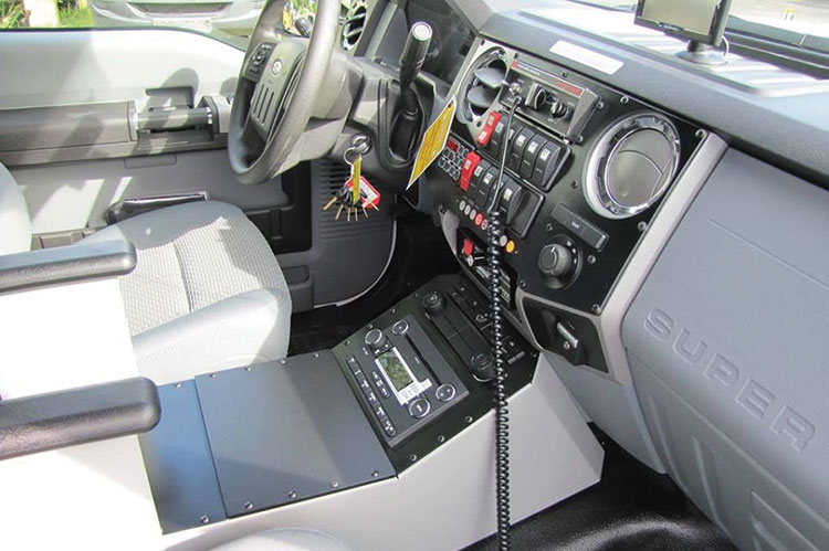 5 The Demers ambulance cab for Evergreen Fire Rescue features the Demers heads-up console (HUC) that consolidates most switches and functions in an easy-to-see and use location. (Photo courtesy of Apgar Ambulance