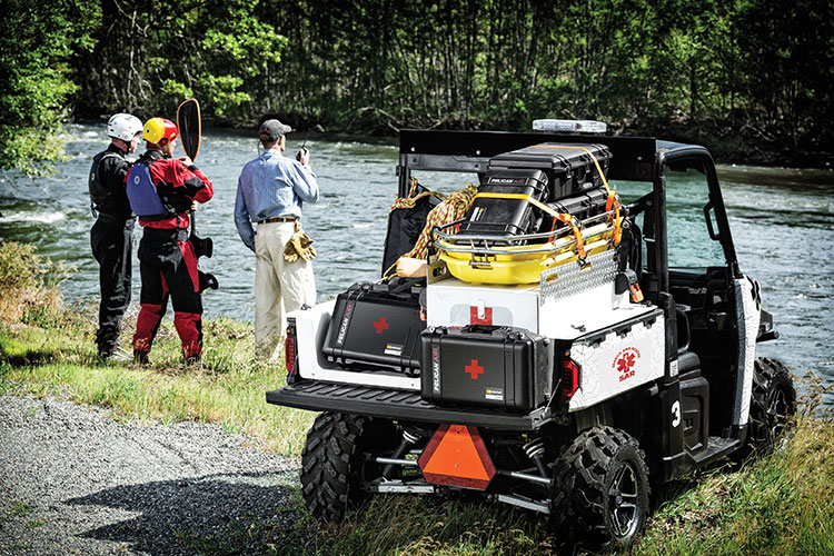 Pelican cases used in a water rescue scenario.