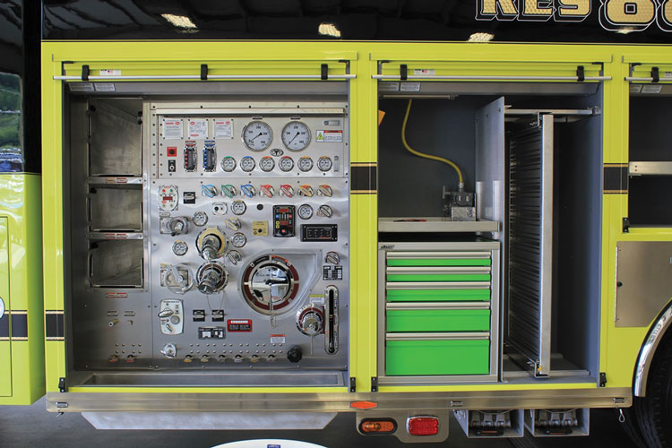 2 The Pleasure Ridge Park (KY) Fire District took delivery from KME of two rescue-pumpers: one for fire suppression and technical rescue and one for fire suppression and hazmat incidents. Shown is the pump panel on one of the rigs.
