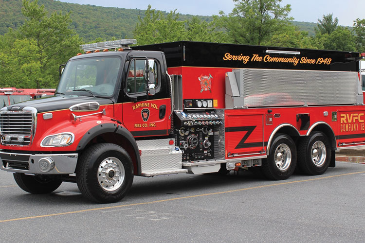 3 The Raphine (VA) Volunteer Fire Company Inc. turned to KME to build this pumper-tanker on a Freightliner commercial chassis. (Photos 1-3 courtesy of KME