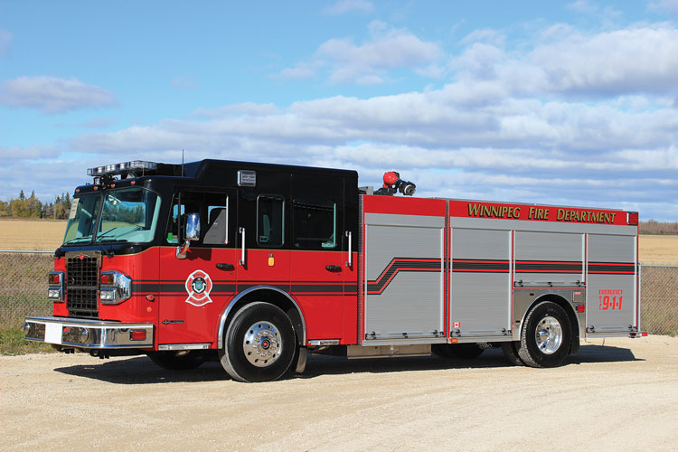 4 Winnipeg, Manitoba (Canada) Fire Rescue had Fort Garry Fire Trucks build this rescue-pumper on a custom Spartan Metro Star chassis with a Hale QMax 1,500-gpm pump, a 720-gallon water tank, and a FoamPro 2002 foam system.