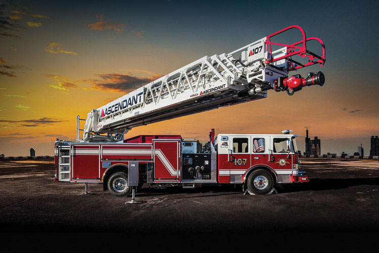 7 Pierce Manufacturing Inc. builds the Ascendant 100-foot aerial ladder quint to allow departments to run fire suppression, aerial, and medical calls, all with the same piece of apparatus.
