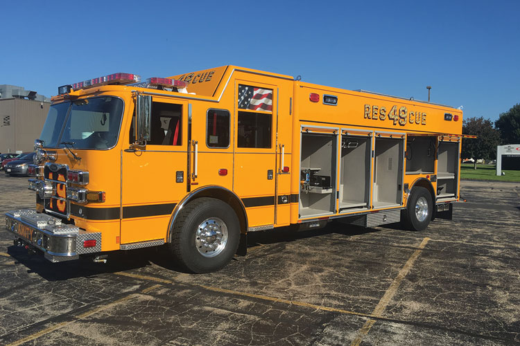 8 This wet rescue built for the Amity (PA) Fire Company by Pierce Manufacturing Inc. is a heavy-duty rescue on an Arrow XT four-door raised-roof cab, carrying a 30-kW Harrison hydraulic generator, an Atlas-Copco tool air compressor, a Hurst low-pressure hydraulic tool system, a Hale 500-gpm single-stage pump, a 300-gallon water tank, and two 1¾-inch hoselines.