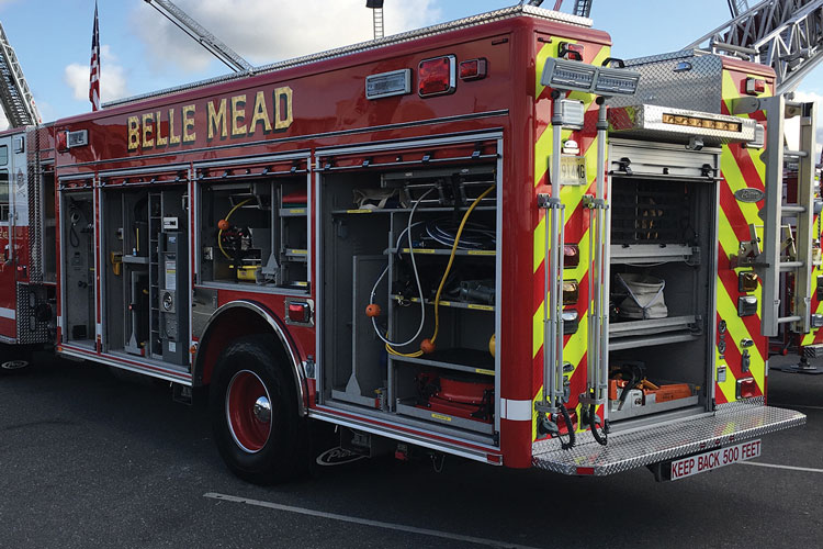 9 The Montgomery Township (NJ) Fire District No. 1 had Pierce Manufacturing Inc. build this PUC rescue-pumper on a Velocity four-door custom cab and chassis with a 10-inch raised room, a Pierce PUC 1,500-gpm single-stage pump, a 400-gallon water tank, a 30-gallon foam tank, and a Husky 3 single-agent foam system. The rescue-pumper also has a 20-kW Harrison hydraulic generator, a four-bottle air cascade system, and Hurst hydraulic rescue tool systems. (Photos 7-9 courtesy of Pierce Manufacturing Inc