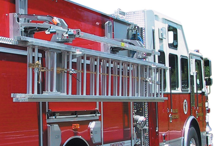 1 Ziamatic Corp. makes the hydraulic Ladder Access System, a two-arm ladder rack that's powered by two electric-over-hydraulic encapsulated actuators.