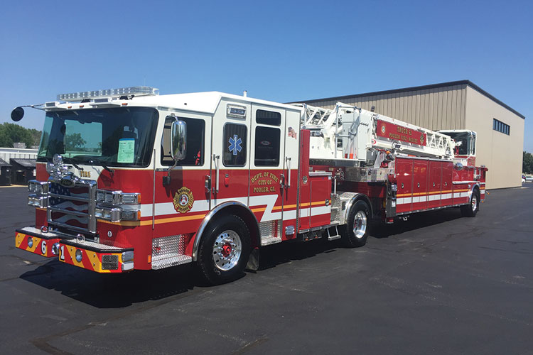 6 This Pierce tractor-drawn aerial features a tractor built on an Enforcer cab and chassis. It was en route to the City of Pooler (FA) Fire Department after its final inspection